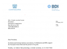 LETTER SENT BY ITALIAN AND GERMAN INDUSTRY ASSOCIATIONS
